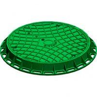 Люк канализационный чугунный зеленый Gidrolica